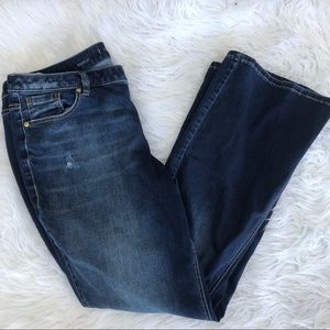 Lane Bryant blue jeans distressed bootcut pants